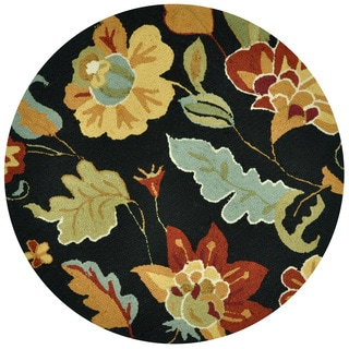 Hand-hooked Savannah Black/ Multi Floral Rug (3' x 3' Round)