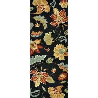 Hand-hooked Savannah Black/ Multi Floral Runner Rug (2' x 5')