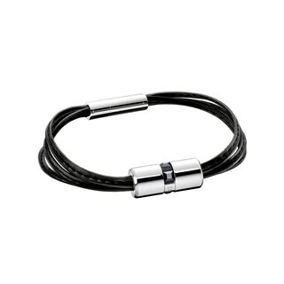 Calvin Klein Women's Stainless Steel and Leather Glint Fashion Bracelet