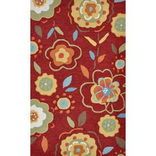 Hand-hooked Savannah Red/ Yellow Floral Rug (2'3 x 3'9)