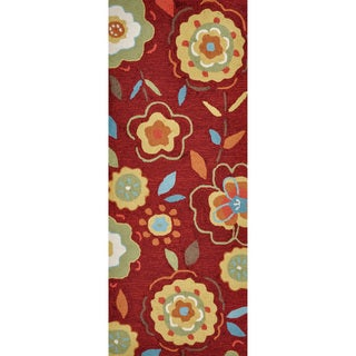 Hand-hooked Savannah Red/ Yellow Floral Runner Rug (2' x 5')