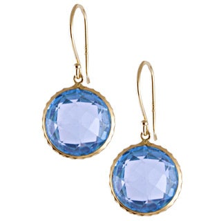 14k Yellow Gold Bezel-set Blue Topaz Hook Earrings