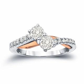 Auriya 14k Two-Tone Gold 3/4ct TDW 2-Stone Round Cut Diamond Engagement Ring (J-K, I1-I2)