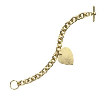 Isla Simone - 18 Karat Gold Electro Plated Round Link Bracelet With Hanging Heart Charm