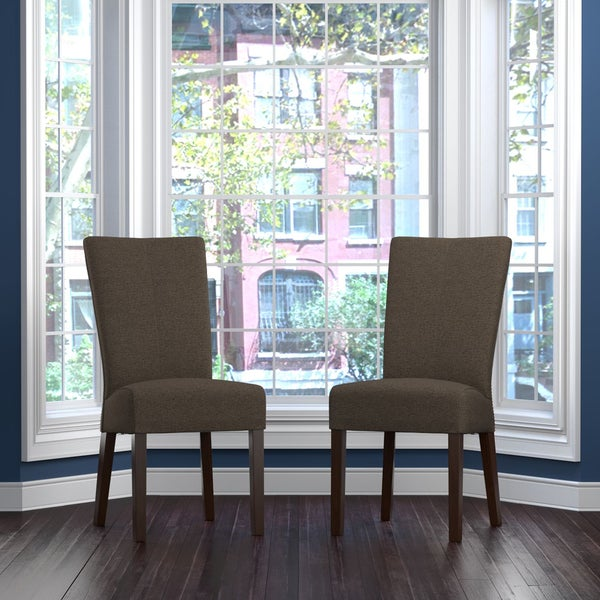 Shop handy living trinidad chocolate brown linen rattan back dining chair set of 2 free for Living room sets for sale in trinidad