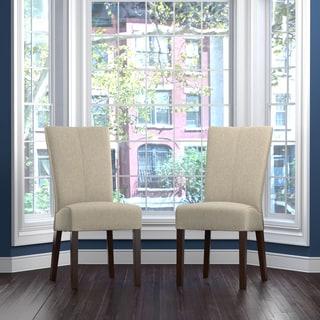 Handy Living Trinidad Barley Tan Linen Rattan Back Dining Chair (Set of 2)