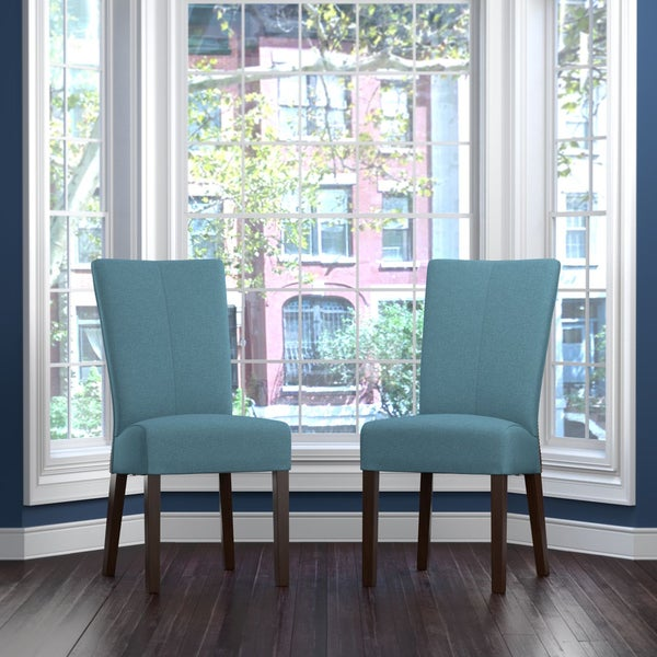 Handy Living Trinidad Caribbean Blue Linen Rattan Back Dining Chair Set Of 2