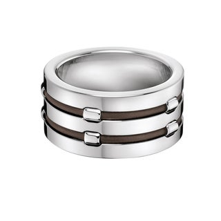 Calvin Klein Men's Connection Stainless Steel and Leather Fashion Ring
