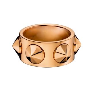 Calvin Klein Women's Studs Leather Stainless Steel Rose Gold PVD-coated Fashion Ring