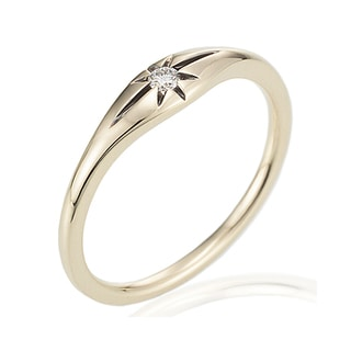 14k Yellow Gold Diamond Accent Stackable Star Ring by Ever One