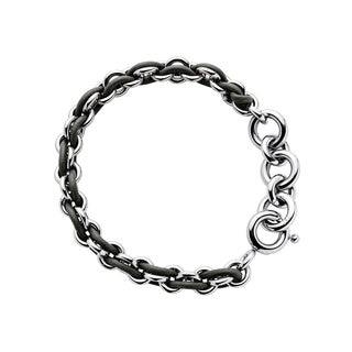 Calvin Klein Women's Stainless Steel and Leather Base Fashion Bracelet