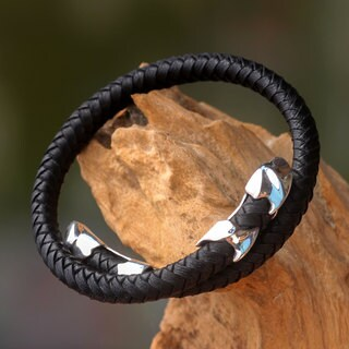 Men's Leather Sterling Silver 'Tribal Aesthetic' Bracelet (Indonesia)