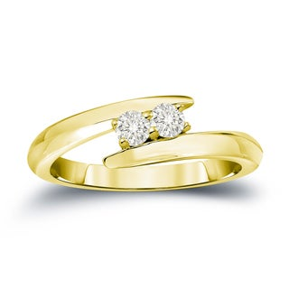 Auriya 14k Gold 1/4ct TDW 2-Stone Round Cut Diamond Engagement Ring (J-K, I1-I2)
