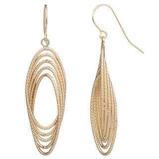 Fremada 14k Yellow Gold Diamond-cut Fancy Oval Drop Earrings