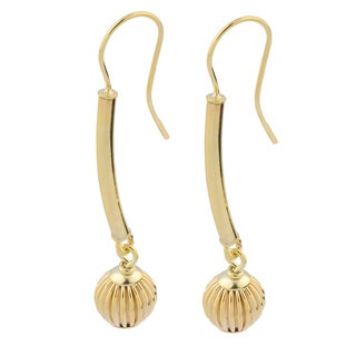 Fremada Italian 14k Yellow Gold Fluted Ball Stick Drop Earrings