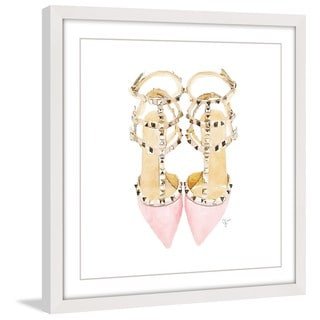 Marmont Hill - 'Pink Jeweled Pumps' Framed Painting Print