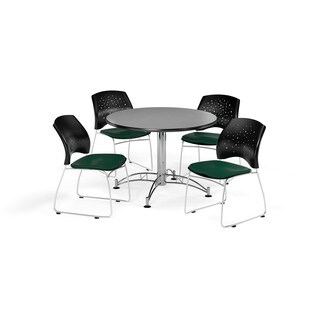 OFM Gray 36-inch Round Break Room Table with 4 Star Chairs