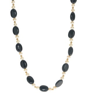 Pearls For You 14K Gold White Freshwater Pearl and Oval Black Onyx Necklace