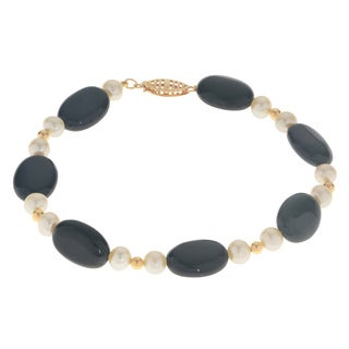 Pearls For You 14k White 5-5.5-millimeter Freshwater Pearl and Oval Black 7.5-inch Onyx Bracelet