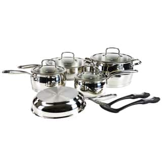 Hamilton Beach Silver Stainless Steel Bell-Shaped 11-piece Cookware Pack|https://ak1.ostkcdn.com/images/products/13043578/P19783041.jpg?impolicy=medium