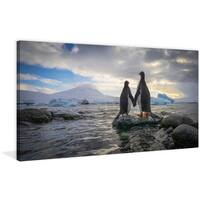 Marmont Hill - 'Penguin Love' Painting Print on Wrapped Canvas - Multi-color