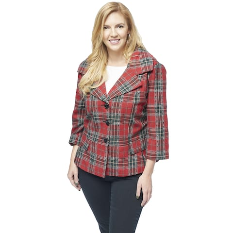 Live A Little Women's Plus-size Red Polyester and Rayon Tartan Plaid Portrait Collar Jacket
