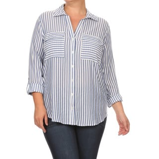 Women's Plus Size Striped Button Shirt