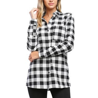 Women's Red and Black Cotton Flannel Gingham Plaid Top