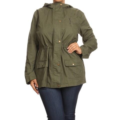 Women's Green Cotton Plus-size Buttoned Hood Jacket