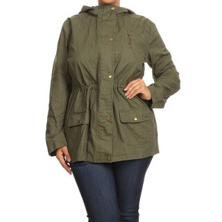Women's Green Cotton Plus-size Buttoned Hood Jacket