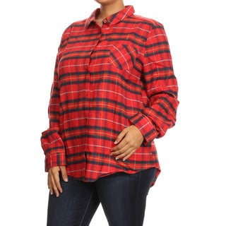 Women's Plus-size Red Polyamide/Cotton/Polyester Plaid Button-down Shirt