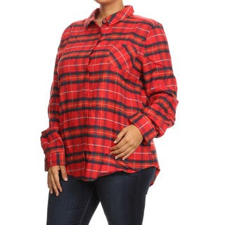 Women's Plus-size Red Polyamide/Cotton/Polyester Plaid Button-down Shirt|https://ak1.ostkcdn.com/images/products/13043646/P19783161.jpg?impolicy=medium