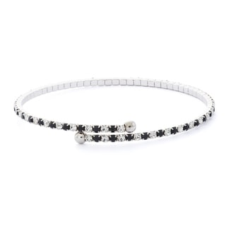 Rhodium Plated Crystal Single Row Flex Bangle in Jet and White Crystal Combination