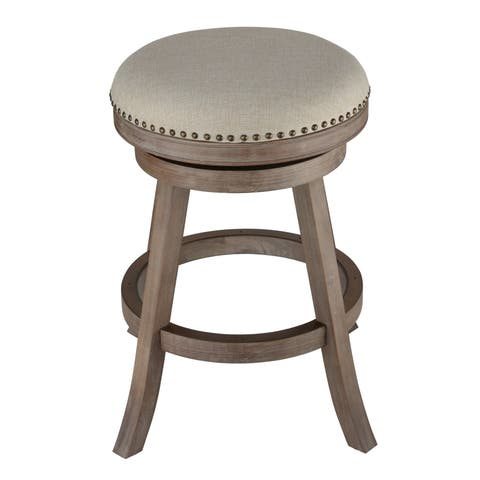 The Gray Barn McNiven Fabric and Driftwood Backless Swivel Counter Stool