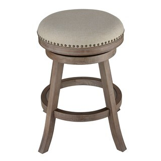 Cortesi Home Sadie Fabric and Driftwood Backless Swivel Counter Stool
