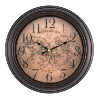 Antique Brown Metal and Plastic 12-inch World Map Wall Clock