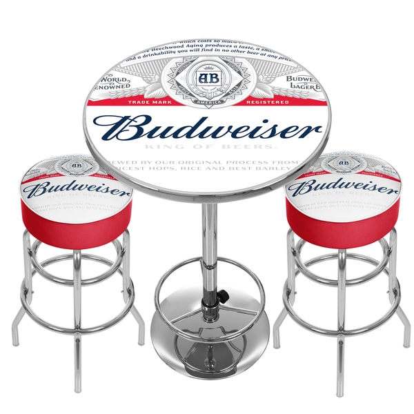 Shop Budweiser Label Game Room Combo 2 Bar Stools And