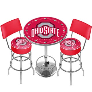 Ohio State University Game Room Combo-2 Stools w/Back & Table