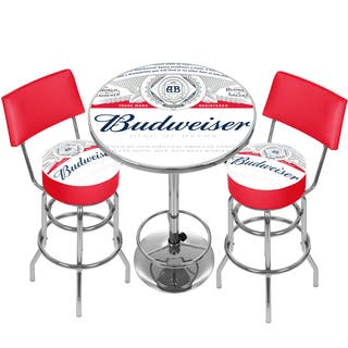 Budweiser Label Game Room Combo - 2 Stools w/Back & Table|https://ak1.ostkcdn.com/images/products/13043698/P19783176.jpg?impolicy=medium