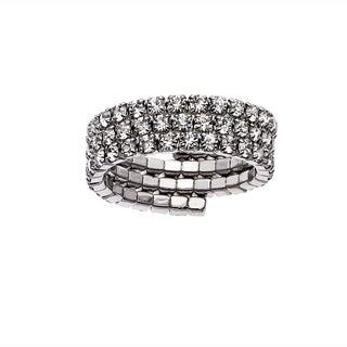 White Rhodium Plated Crystal Three Row Ring