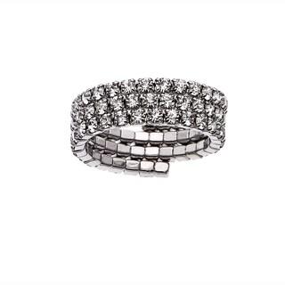 White Rhodium Plated Crystal Three Row Ring