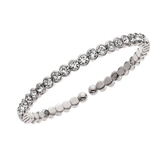Rhodium Plated Single Honeycomb Crystals Cuff Bracelet