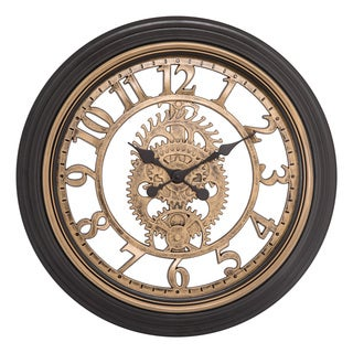 Brown Plastic 20-inch Cut-out Gears Clock