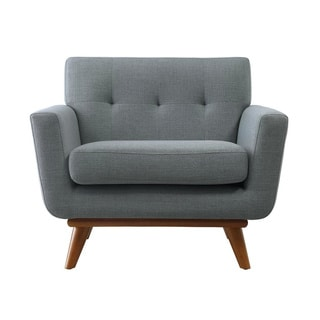 Poly and Bark Mari Grey Fabric and Wood Lounge Chair