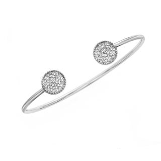 Rhodium Plated Open End Cystal Circle Bangle