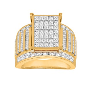 Trillion Designs 10k Yellow Gold 3ct TDW Diamond Cluster Engagement Ring (H-I, I1-I2)