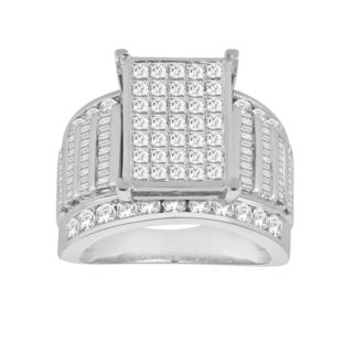 Trillion Designs 10k White Gold 3ct TDW Diamond Cluster Wedding Engagement Ring (H-I, I1-I2)