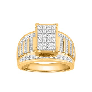 Trillion Designs 10k Yellow Gold 2ct TDW Diamond Cluster Wedding Engagement Ring (H-I, I1-I2)