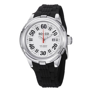 SoCoNew York Men's Quartz SoHo Black Rubber Strap Stainless Steel Watch