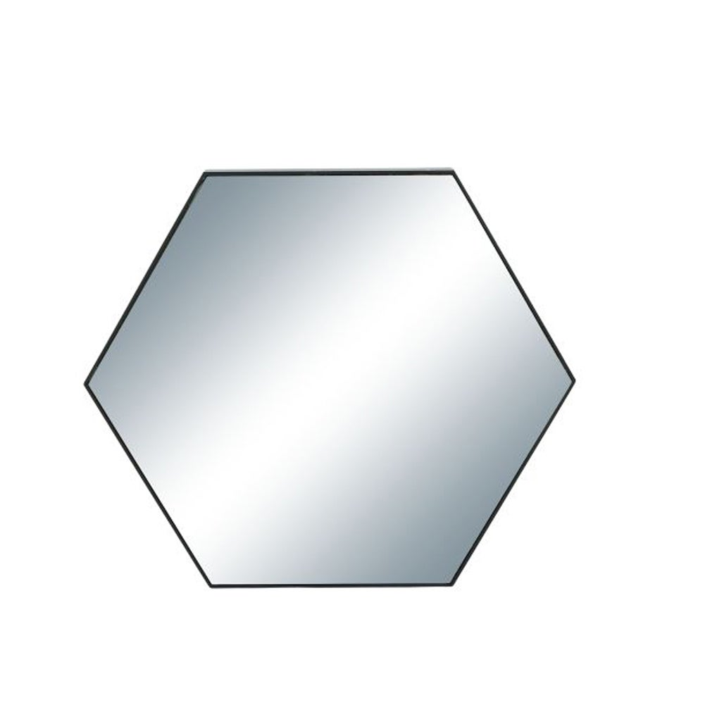 Benzara Wooden Hexagonal Wall Mirror (Black Frame) (Glass)